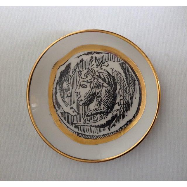 1960s Italian Porcelain Gilt Roman Coin Drinks Coasters - Set 6 For Sale - Image 5 of 11