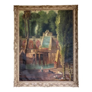 Large Italian Leonardo DaVinci Style Unsigned Landscape Oil on Canvas Painting in Handmade Frame For Sale