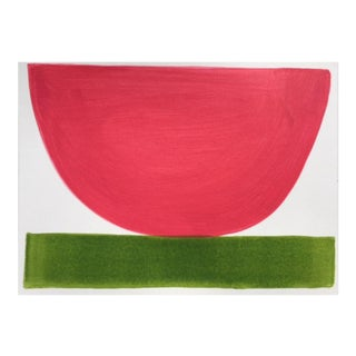 """2010s Abstract Original Painting, """"Hot Strawberry Bowl"""" by Jenny Andrews Anderson"""