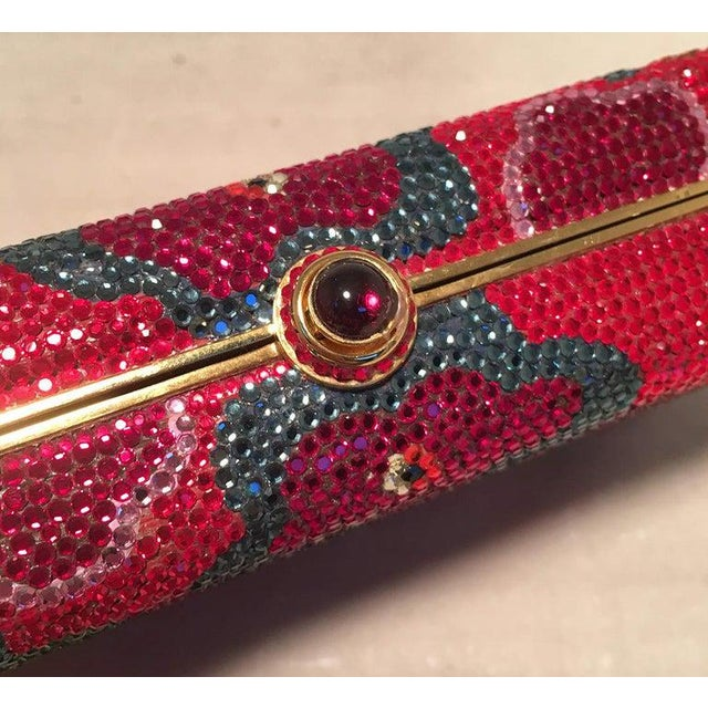 Judith Leiber Red Swarovski Crystal Floral Print Minaudiere Evening Bag Clutch For Sale In Philadelphia - Image 6 of 9