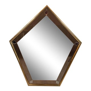 Mid-Century Modern Pentagonal Brass Wrapped Mirror with Smoked Border For Sale