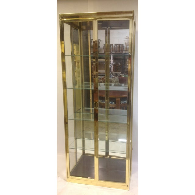 1980's Style Brass and Glass Cabinet - Image 2 of 8