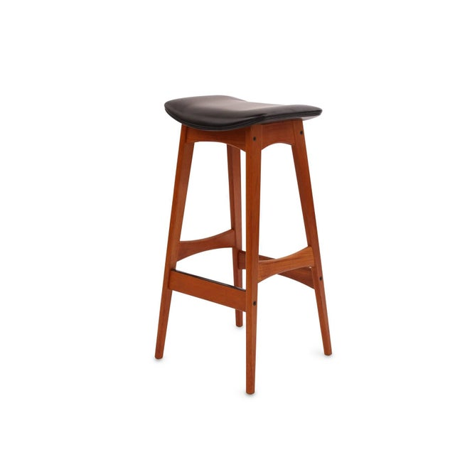 Mid-Century Modern 1960s Johannes Andersen Teak and Leather Barstools - Set of 4 For Sale - Image 3 of 8