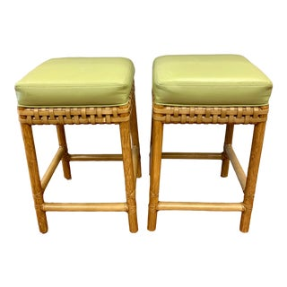 Pair of Vintage McGuire Bamboo Rattan Counter Stools For Sale