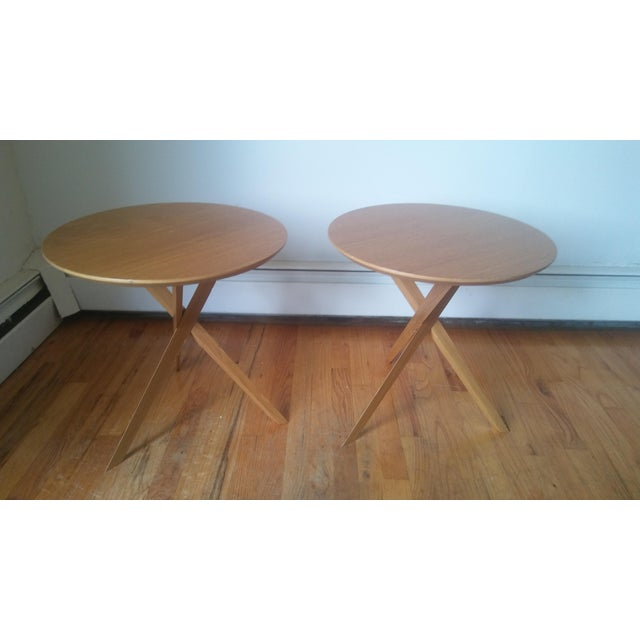 Yellow Mid-Century Modern Side Tables - A Pair For Sale - Image 8 of 8