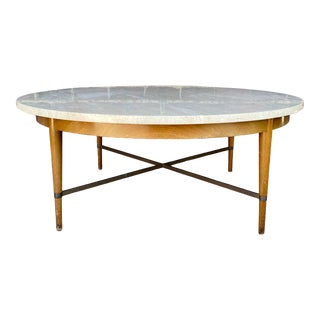 1950s Paul McCobb Travertine Top Coffee Table For Sale