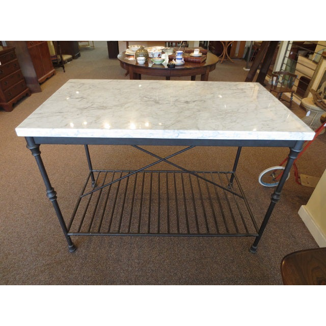 Marble Top Metal Base Kitchen Island - Image 2 of 9