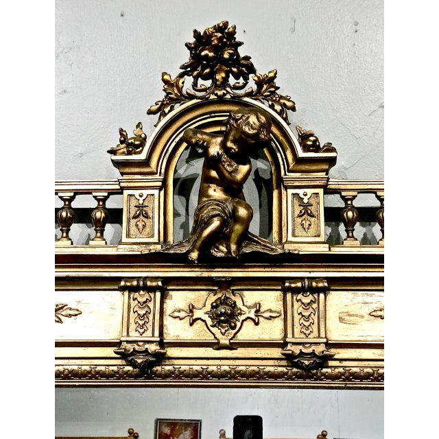 Baroque Large 19th Century Antique French Gilt Putti Mirror For Sale - Image 3 of 9