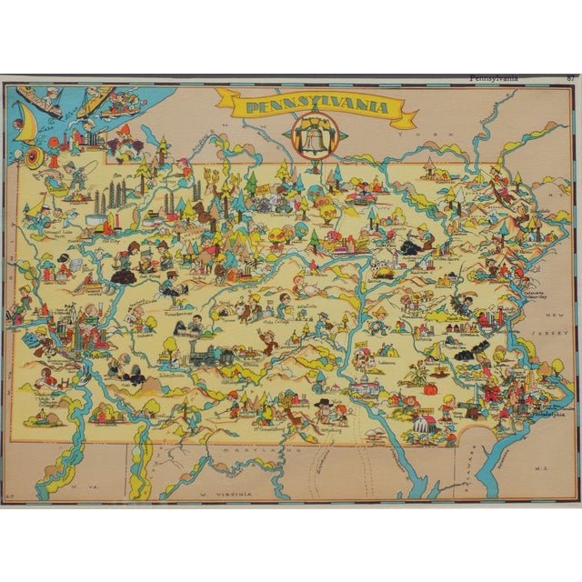 Vintage Map of Pennsylvania, 1935 For Sale - Image 5 of 5