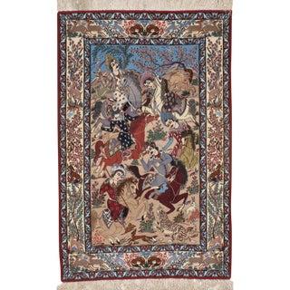 """Pasargad N Y Persian Isfahan Handmade Silk & Wool Rug - 3'7"""" X 5'6"""" For Sale"""