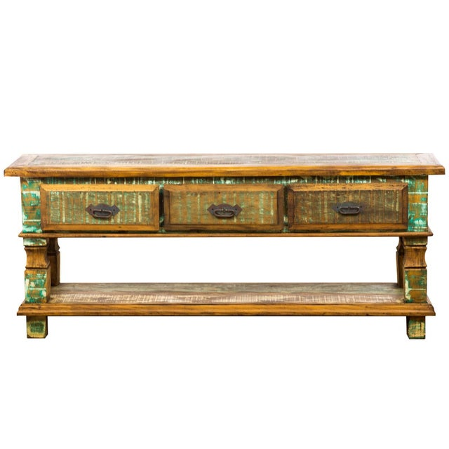 Green Reclaimed Wood Console Table For Sale - Image 8 of 8