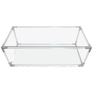 Lucite Chrome and Glass Console Table Attributed to Charles Hollis Jones For Sale