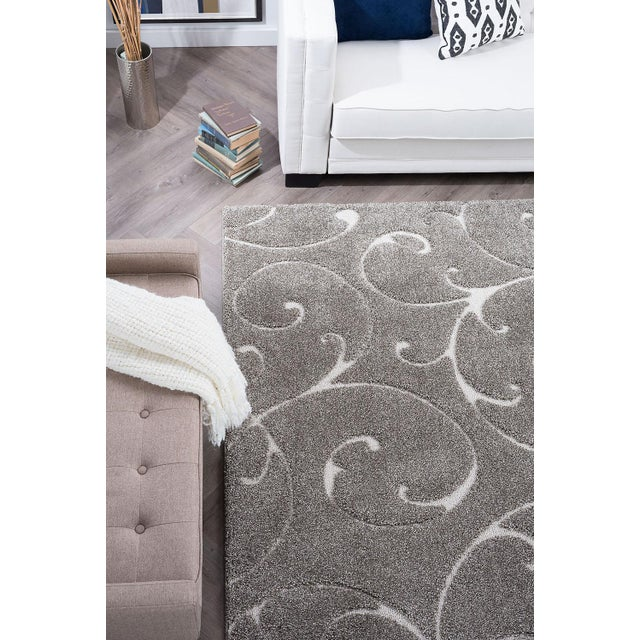 """Gray Berkshire Shag Scrollwork Gray Transitional Small Area Rug - 3'3"""" x 5' For Sale - Image 8 of 10"""