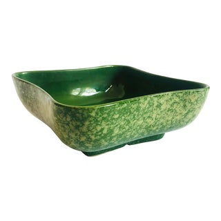 Mid Century Green Curvy Square Planter Bowl For Sale
