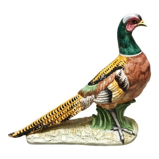 Vintage Italian Vietri Porcelain Pheasant Sculpture For Sale