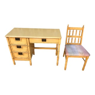 1960s Vintage Stanley Faux Bamboo Desk With Chair For Sale
