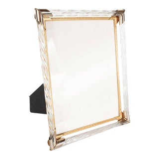 Mid-Century Modern Braided Murano Glass, Chrome & Filigreed Brass Picture Frame For Sale