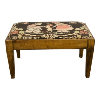 Antique Needle Point Wooden Foot Stool For Sale