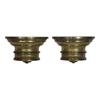 Decorative Gold Wood Brackets - a Pair For Sale