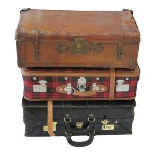 Vintage Leather & Plaid Suitcases-3 Pieces For Sale