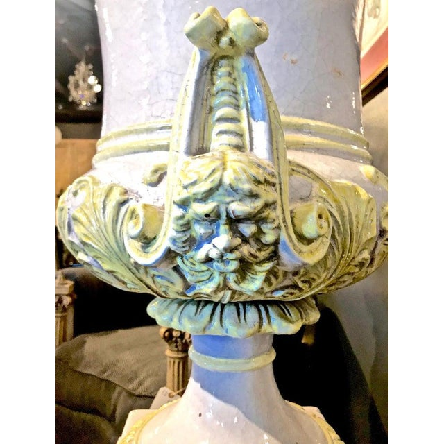 Italian Glazed Terra Cotta Urn on Pedestal For Sale - Image 4 of 10
