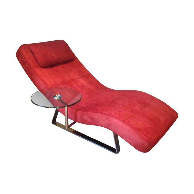 BoConcept Chrome and Red Microfiber Suede Chaise   Chairish on