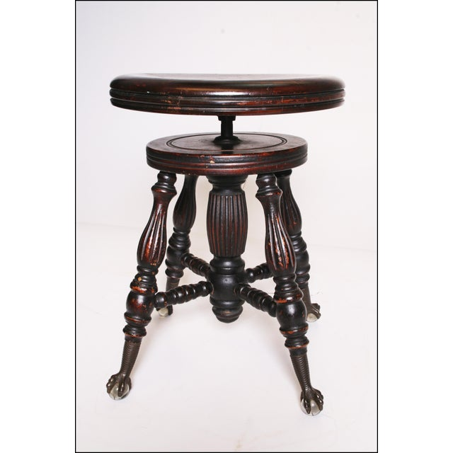 Victorian Wood Swivel Piano Stool with Ball & Claw Feet For Sale - Image 9 of 11