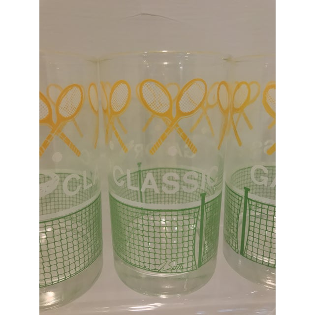 Vintage 1980's Green Yellow and White Alligator Tennis Cocktail Bar Tumbler Glasses - Set of 4 - Image 5 of 7