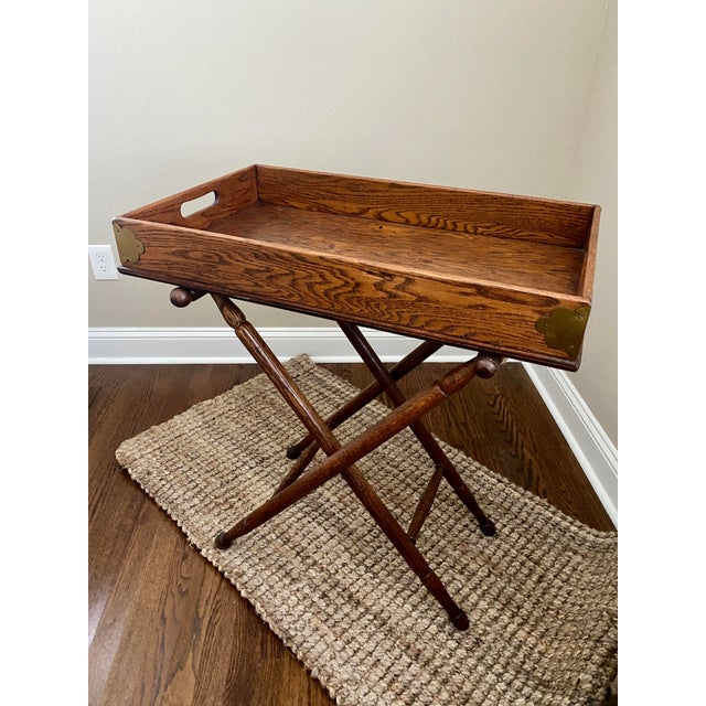 Antique English Oak Folding Butlers Tray Bar For Sale - Image 11 of 11