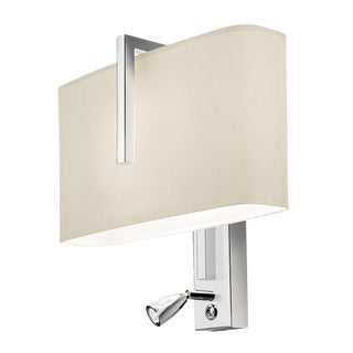 Polished Chrome Wall Light With Reading Light and Oyster Shade For Sale