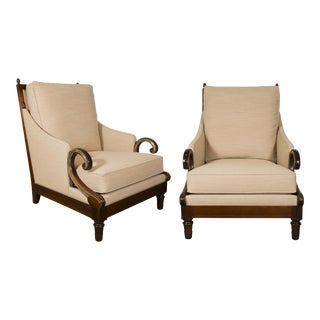 Large Pair of Mahogany and Bronze Bergère Chairs, France, 1950s