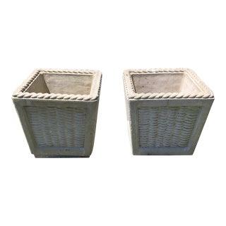 Vintage Cast Cement Basket Motife Planters - a Pair For Sale
