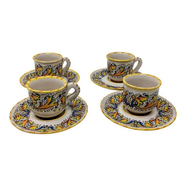 Demitasse Cup & Saucer Set - Service for 4 For Sale