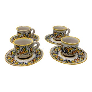 Meridiana Ceramiche Demitasse Cup & Saucer Set - Service for 4 For Sale