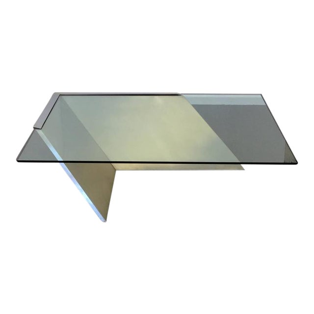 Brushed Stainless Steel and Glass Cocktail Table by Brueton - Image 1 of 9