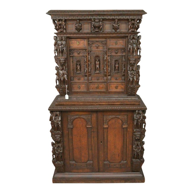 "Antique Heavily Carved Continental Court Two Piece 65"" Cabinet/Cupboard For Sale"