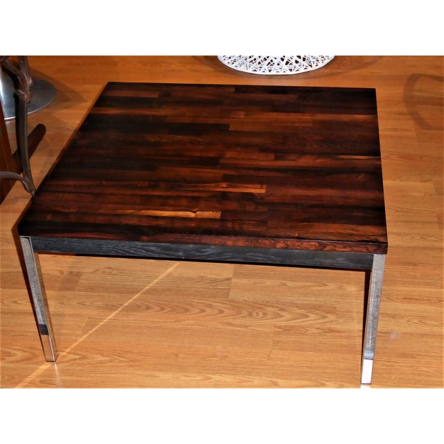 Solid Chrome Coffee Table: Luxury Solid Brazilian Rosewood Staved & Chrome Danish