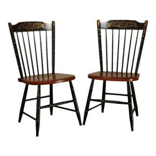 Hitchcock Black Painted Stenciled Maple Side Chairs - a Pair For Sale
