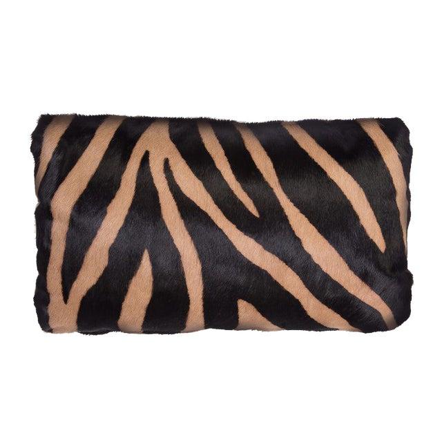 Zebra Stencil Printed Cowhide Lumbar Pillow For Sale