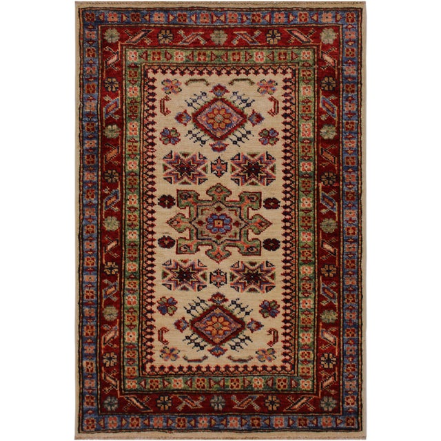 Red Persian Geraldo Ivory/Red Hand-Knotted Wool Rug - 2'0 X 2'11 For Sale - Image 8 of 8