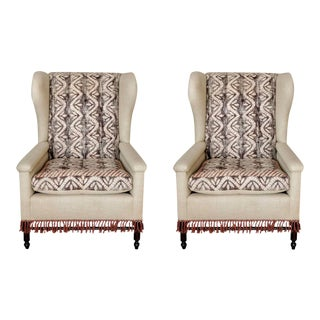 Bohemian Wingback Pair Chairs Early 20th Century For Sale