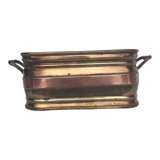 Brass & Copper Rectangular Planter With Handles