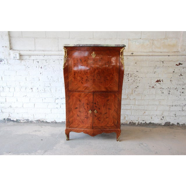 French 19th Century French Inlaid Marquetry Marble Top Abattant Secretaire For Sale - Image 3 of 13