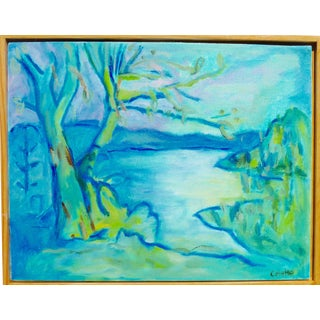 """Contemporary """"French Lake"""" Oil Painting For Sale"""