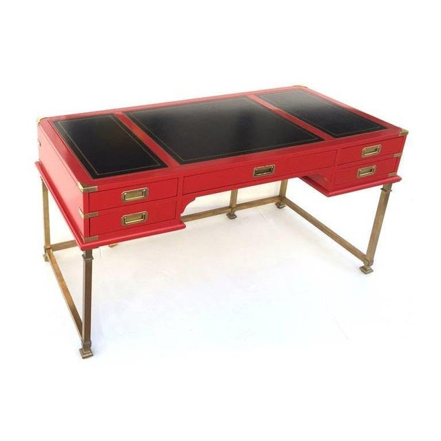 1950s Vintage Campaign Style Writing Table/Desk Lacquered in Red For Sale - Image 5 of 11
