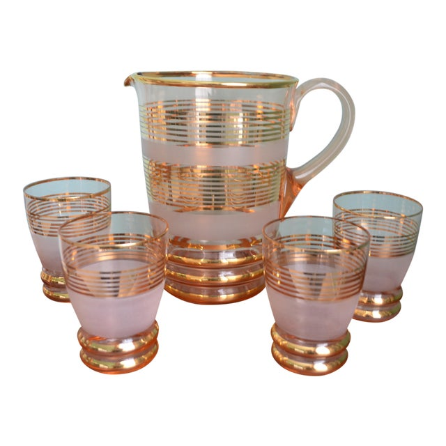 Gilt & Frosted Pitcher & Glasses Set - Image 1 of 5