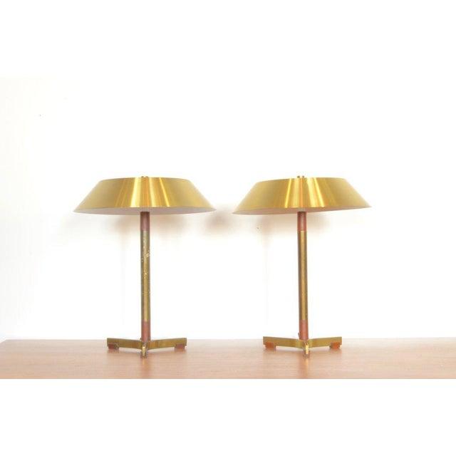 Jo Hammerborg President Brass and Teak Table Lamp For Sale - Image 9 of 10