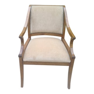 Modern Designer Suede Leather Tan Lounge Chair With Inlay Marquetry
