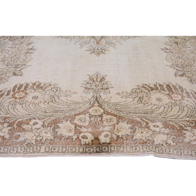 """Vintage Turkish Hand Knotted Whitewash Organic Wool Fine Weave Rug,7'2""""x10'2"""" For Sale - Image 4 of 6"""