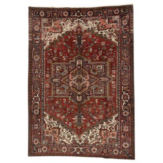 Vintage Mid-Century Persian Heriz Rug - 7′5″ × 10′4″ For Sale